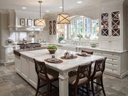 Traditional White Kitchen Large Eat Island Window View Gallery Small Functional