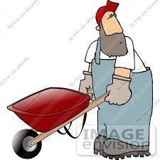 Man Pushing a Wheel Barrow Clipart by DJArt
