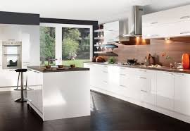 KitchenInteresting White Kitchen Ideas With Dark Floor Tiles Also Laminated Wooden Countertop And Backplashes