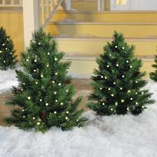 Cordless Pre Lit Cone Berry Walkway Christmas Tree At Brookstone