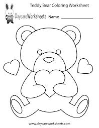 Free Preschool Teddy Bear Coloring Worksheet