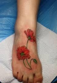 Poppy flower foot tattoo Tattoo Ideas Pinterest