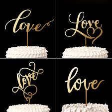 Script Lover Cake Topper Gold Wood Rustic Wedding Decor Bridal Shower Gifts Anniversary Party Decorations In Decorating Supplies From Home