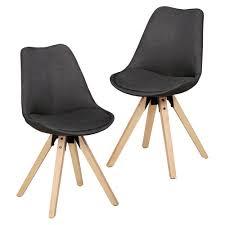 wohnling 2er set retro esszimmerstuhl lima anthrazit polsterstuhl stoff bezug rückenlehne design küchen stuhl gepolstert