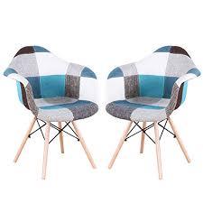 injoy esszimmerstühle 2er set modernes design mehrfarbig patchwork stoff lounge stuhl für zuhause esszimmer küche wohnzimmer