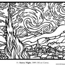 Print Adult Van Gogh Starry Night Large Coloring Pages Free Printable