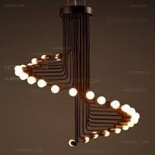 Retro Spiral Staircase Shaped Pendant Light In Black White