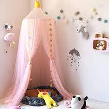 rosa garn baldachin wenscha betthimmel kinder baby kinderzimmer bettvorhang baumwolle deko moskitonetz insektenschutz für prinzessin spielzelte