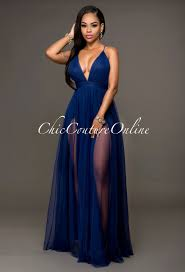 chic couture online paloma navy blue tulle maxi dress http