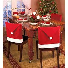 Gabkey 4 Pcs SANTA HAT DINING CHAIR COVERS CHRISTMAS PARTY COVER DINNER TABLE DECORATION 5060cm