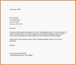 Interview Rejection Letter Sample Rejection Letter After Interview