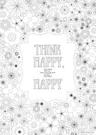 Think Happy Be Colouring Page