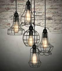 Urban Barn Rustic Style Cage Light Chandelier Pendant Fixture Kitchen Foyer Dine