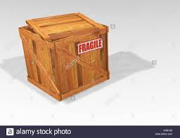 Open Wooden Crate With Fragile Sticker