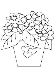 dessin à colorier d un pot de fleurs décoré avec des coeurs fête