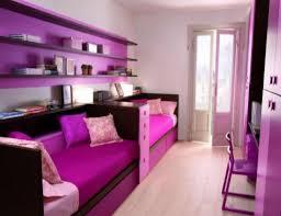 Two Tone Stripes Wall Paint Ideas Small Bedroom For Teenage Girl White Drawer Decor Idea Side Bookshelf Plush Bedding Set Purple Puff