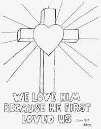 Coloring Page With Cross 1 John 419 We Love Him