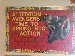 Superhero Bulletin Board Idea Supplies Bought Captan America Party City Banner And Super