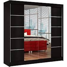 schwebetürenschrank basti v 200 cm mit spiegel kleiderschrank mit 2 türen kleiderstange und einlegeboden schlafzimmerschrank schiebetürenschrank