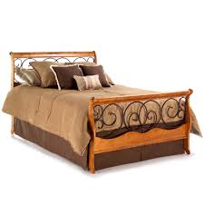 Wrought Iron Cal King Headboard by Dunhill Wood And Iron Bed Autumn Brown Honey Oak Finish