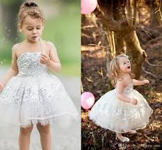 Silver Sequins Lace Tulle Toddler Flower Girls Dresses Cute Cupcake
