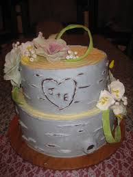 A Rustic Wedding Cake Made To Look Like Birch Bark All Buttercream Except The Flowers And