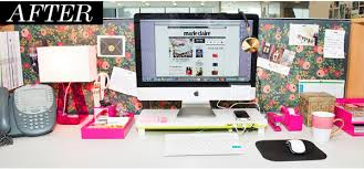 before after a cubicle goes from blah to glam office desk