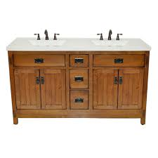 Silkroad Exclusive HYP0715TUIC48 Compact Travertine Stone Top Double Small Sink Bathroom Vanity With Cabinet 48