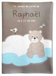 protege carnet de santé personnalisé nuages bleu et petit ours
