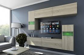 future 31 wohnwand anbauwand möbel wohnzimmer wohnzimmerschrank tv schrank matt sonoma led rgb beleuchtung 31 m s 3 led blau