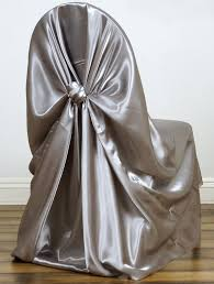 Mds Pack Of 50 Satin Universal Chair Cover/Pillowcase/tie Back Self Chair  Cover For Wedding Or Events Banquet/Folding Chair Cover - Silver Gray