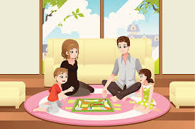 Family Playing Board Game Vector Art Illustration