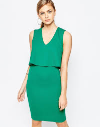 tfnc london 2 in 1 midi dress with mesh insert at waist in green