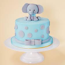 Baby boy children s cake idea blue elephant fondant icing
