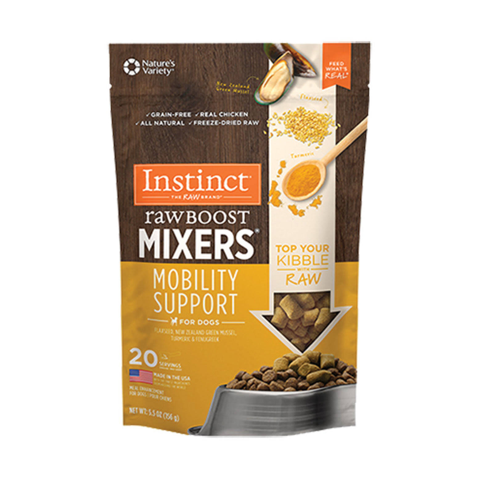 Instinct Freeze Dried Raw Boost Mixers Mobility Support Grain Free All Natural Dog Food Topper by Nature's Variety, 5.5 oz.