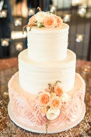 Pretty In Pink Wedding Cake White And Peach Floral Topper Light Icing
