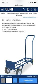 Uline Convertible Steel Hand Truck With Solid Wheels For Sale In San Mateo CA