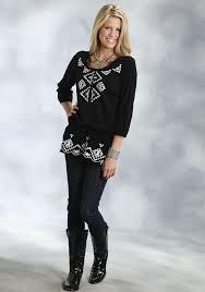 roper women u0027s black cotton gauze aztec embroidered peplum waist