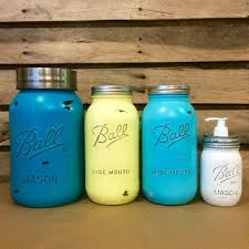 Mason Jar Canister Set Rustic Turquoise Jars And Yellow