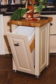 Kitchen Portable Cart Tilt Out Trash Can Cabinet Butcher Block Top White Finish Polymer Container Wooden Material Storage