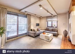 geräumige braun wohnzimmer mit sofa tisch beleuchtung