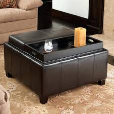 Leather Ottoman With Tray Leather Ottoman Coffee Table Tray