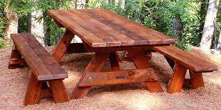 amazing of wooden picnic table with benches pine wood picnic table