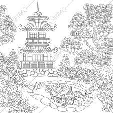 Adult Coloring Pages Japanese Garden Zentangle Doodle Book For Adults Digital Illustration Instant Download Print