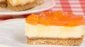 quarkkuchen mit keksboden und mandarinen