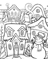 Scene Of Chirstmas Winter Coloring Pages