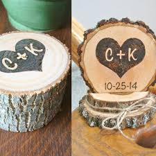 Rustic Wedding Cake Topper Ring Box Set Personalized Holder Wood Combo Country