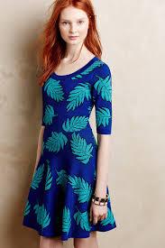 plenty by tracy reese palm leaf petite sweater dress in blue lyst