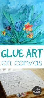 Glue Art On Canvas With Watercolors Ideas KidsCanvas