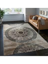 paco home teppich klassisch gemustert kreis ornamente in braun beige schwarz meliert klingel